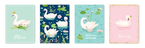 Collection of Beautiful Swans Posters for Design Print, Baby Greetings, Arrival Cards, Invitation, Children Store Flyer. Brochure, Cover in vector stock illustration