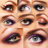 Collection beautiful womanish eye with glamorous makeup Royalty Free Stock Photography