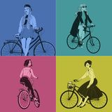 Collection of beautiful women dressed in clothes of different style vector illustration