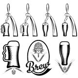 Collection of beer and beer dispensers Stock Image
