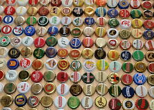 A collection of beer caps Stock Images