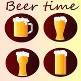 A collection of beer drink icons in mugs and glasses. A collection of beer icons - time to drink beer. Cups, glasses and mugs with beer vector illustration