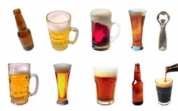 Collection of beer glasses of different flavors stock photos