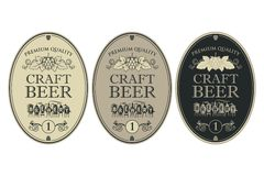 Beer labels set. Collection of beer labels in retro style stock illustration