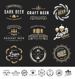 Collection of 9 Beer Logos, Badges, Stamps Stock Photos