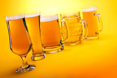 Collection of beer mugs with beer Stock Image