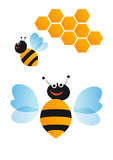 Collection of bees icons Stock Image