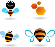 Collection of bees icons. And logos Royalty Free Stock Image