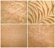 Collection of beige decorative plaster, art brush texture Stock Image