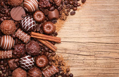 Collection of Belgian truffles. Chocolate candies Stock Photo