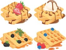 Collection of Belgian waffles with fruit fillings. A set of sweet pastries with cream and fruits. Menu of sweets for. Fast food stock illustration