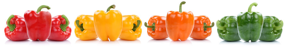 Collection of bell pepper peppers paprika paprikas in a row isol Royalty Free Stock Photography