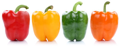 Collection of bell pepper peppers paprika paprikas in a row side Stock Photography