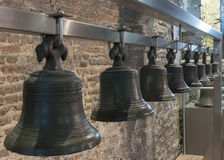 Collection of bells hangs in Ghent Belfry, Belgium. Royalty Free Stock Images