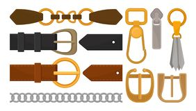 Flat vector set of belt elements. Stylish leather male and female waistbands, metal and golden accessories stock illustration