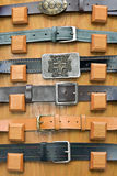 Collection of  belts  with metal  buckles Stock Image