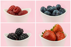 Collection of berries in bowls Stock Photography