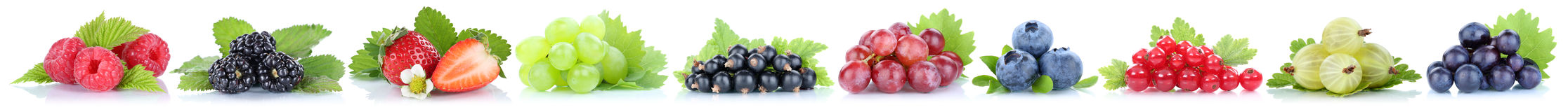 Collection of berries grapes strawberries blueberries berry orga Royalty Free Stock Photography
