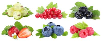 Collection of berries strawberries blueberries berry fruits fruit isolated on white royalty free stock images