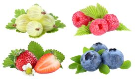 Collection of berries strawberries blueberries berry fruits fruit isolated on white stock photography