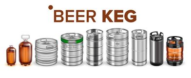 Collection Of Beverage Keg Barrel Cask Set Vector. Different Material And Size. Stainless Steel, Glass And Plastic Container For Storage And Botteling stock illustration
