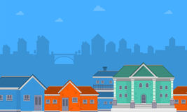 Collection of big house on city landscape. Vector art Stock Photo