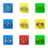 Collection of bikes with different wheels and frames. Different bikes for sport and walks.Different bicycle icon in set Royalty Free Stock Photos