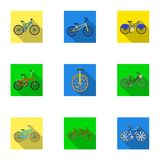 Collection of bikes with different wheels and frames. Different bikes for sport and walks.Different bicycle icon in set Stock Image