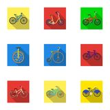 Collection of bikes with different wheels and frames. Different bikes for sport and walks.Different bicycle icon in set Royalty Free Stock Photo