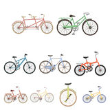 Collection of bikes with different wheels and frames. Different bikes for sport and walks.Different bicycle icon in set Royalty Free Stock Photography