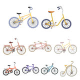 Different bikes for sport and walks.Different bicycle icon in set Royalty Free Stock Images