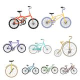 Collection of bikes with different wheels and frames. Different bikes for sport and walks.Different bicycle icon in set Royalty Free Stock Images