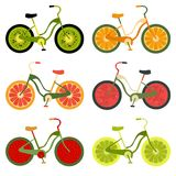 Collection of bikes with fruit wheels Royalty Free Stock Images