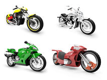 Collection of bikes isolated views. Isolated collection of bikes over white background Royalty Free Stock Image