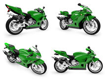 Collection of bikes isolated views royalty free illustration