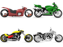 Collection of bikes isolated views. Isolated collection of bikes over white background Stock Photo