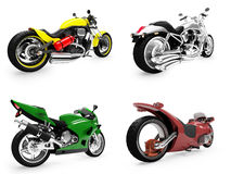 Collection of bikes isolated views Stock Photos