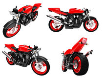 Collection of bikes isolated views. Isolated collection of bikes over white background Stock Photos