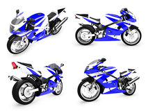 Collection of bikes isolated views. Isolated collection of bikes over white background Royalty Free Stock Photo