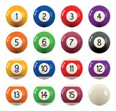 Collection of billiard pool  balls with numbers. vector. Collection of billiard pool or snooker balls with numbers isolated on white background, eps10 Stock Photography