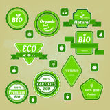 Collection of bio and eco organic labels natural products Royalty Free Stock Photography