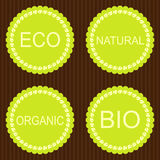 Collection of bio and eco organic labels Royalty Free Stock Photos