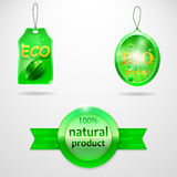 Collection of 3 bio labels Royalty Free Stock Photo