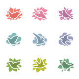 Collection of birds. Vector logo template set. Stock Image