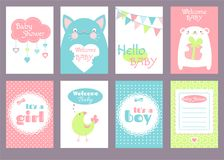 Set of birthday banners with cute animals Stock Photos