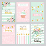 Collection of birthday cards in pastel colors. Royalty Free Stock Images
