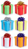 Collection of birthday gifts christmas presents portrait format stock photography