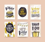 Collection of birthday greeting card templates decorated with handwritten wishes and festive elements - gift, cake with. Candles, balloon, confetti, flag Stock Photos