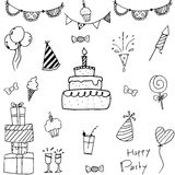 Collection bithday doodle vector art royalty free illustration