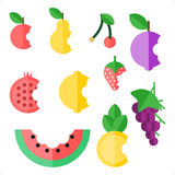 Collection of 10 bitten fruit Royalty Free Stock Image
